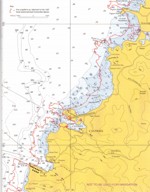 GPS uses WGS84 as a standard reference system. This means that if any paper or raster chart is built around another datum the positions may be inaccurate. 'Positions' box on the chart will tell you if this is the case. Here the red line indicates the actual position of the land in WGS84 compared to the chart.